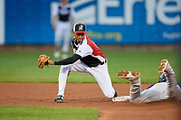 Erie SeaWolves shortstop Sergio Alcantara (1) looks to tag Brett Netzer (3) sliding into second base during an Eastern League game against the Portland Sea Dogs on June 17, 2019 at UPMC Park in Erie, Pennsylvania.  Portland defeated Erie 6-3.  (Mike Janes/Four Seam Images)