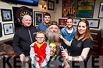 Locals in Ballybunion are looking forward to seeing the result of Michael 'Hairy' O'Flaherty's charity head shave on October 14th. Pictured were: Ger 'Flash' Walsh, Stephen Galvin (Proprietor Mikey Joe's), Aidan O'Hanlon, Rosemary Horgan (Rose's Hair Salon), with Michael 'Mikey' Beazley and his granddad Michael 'Hairy' O'Flaherty.