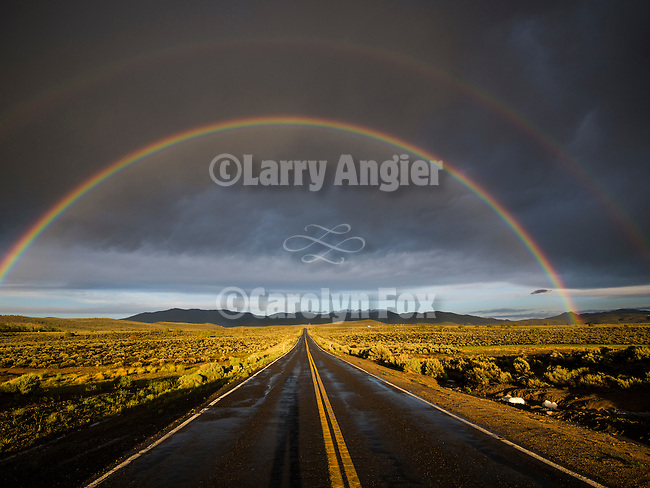 Double rainbow over the sage, Pine Nut Mountains, Gardnerville, Nevada.