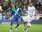 Real Madrid's Carlos Henrique Casemiro (r) and WfL Wolfsburg's Joshua Guilavogui during Champions League 2015/2016 Quarter-finals 2nd leg match. April 12,2016. (ALTERPHOTOS/Acero)