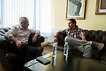 General Secretary of Podemos, Pablo Iglesias during the meeting with General Secretary of CCOO , Ignacio Fernandez Toxo in Madrid. November 16, Spain. 2016. (ALTERPHOTOS/BorjaB.Hojas)