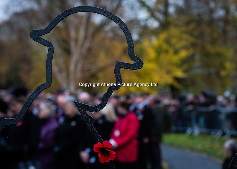 Pictured: A Remembrance Day statue. Sunday 11 November 2018<br /> Re: Commemoration for the 100 years since the end of the First World War on Remembrance Sunday at York Minster, England, UK