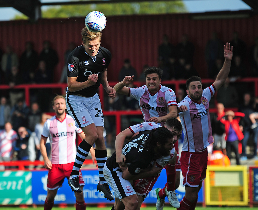 Lincoln City's Sean Raggett  scores his sides equaliser<br /> <br /> Photographer Andrew Vaughan/CameraSport<br /> <br /> The EFL Sky Bet League Two - Stevenage v Lincoln City - Saturday 9th September 2017 - The Lamex Stadium - Stevenage<br /> <br /> World Copyright &copy; 2017 CameraSport. All rights reserved. 43 Linden Ave. Countesthorpe. Leicester. England. LE8 5PG - Tel: +44 (0) 116 277 4147 - admin@camerasport.com - www.camerasport.com