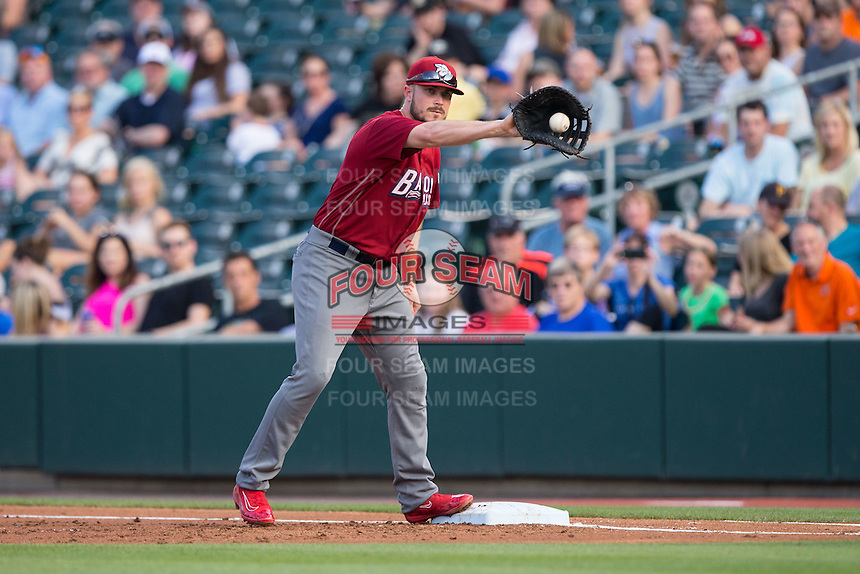 Lehigh Valley Iron Pigs first baseman Brock Stassi (10) waits for a throw during the game against the Charlotte Knights at BB&T BallPark on June 3, 2016 in Charlotte, North Carolina.  The Iron Pigs defeated the Knights 6-4.  (Brian Westerholt/Four Seam Images)