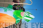 St Patrick smiles in the sunshine during the parade in Killarney on Tuesday.....
