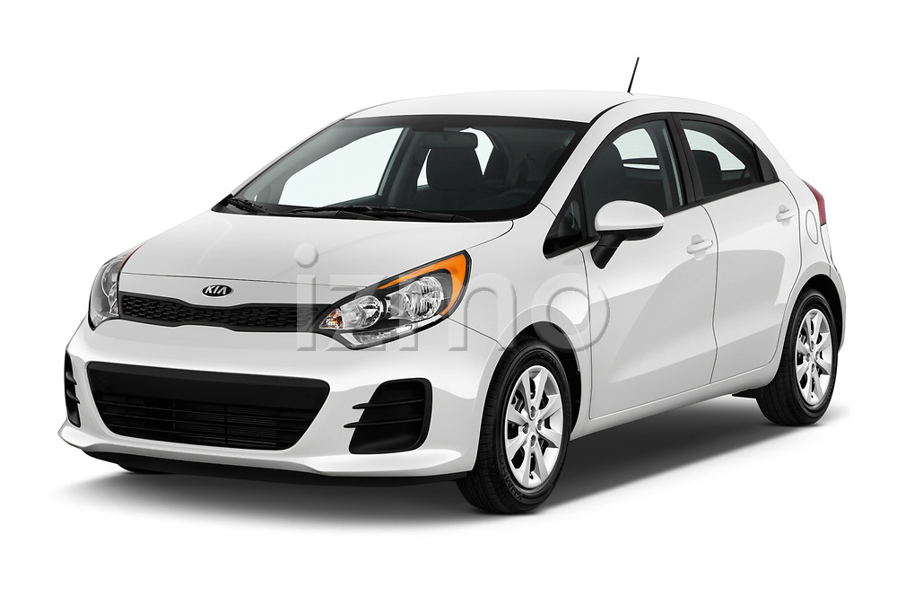 2016 KIA Rio LX 5 Door Hatchback Angular Front stock photos of front three quarter view