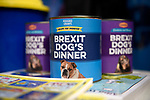 "Brexit dogs dinner tins on a stall near Parliament Square during the ""Put it to the People"" rally which made it's way through central London today. Demonstrators from across the country gathered to call for a second referendum on Brexit and to march through the UK capital finishing with speeches in Parliament Square opposite the Houses of Parliament in Westminster."