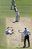 November 5th 2017, WACA Ground, Perth Australia; International cricket tour, Western Australia versus England, day 2; England player Chris Woakes dives out of the way as Western Warriors Josh Philippe drives the ball back down the ground at him for four