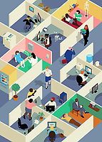 Office cubicles with ill and working people