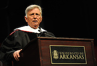 NWA Media/ANDY SHUPE - Gov. Mike Beebe speaks after receiving an honorary degree from the University of Arkansas during fall commencement exercises Saturday, Dec. 20, 2014, at Barnhill Arena on the university campus in Fayetteville.