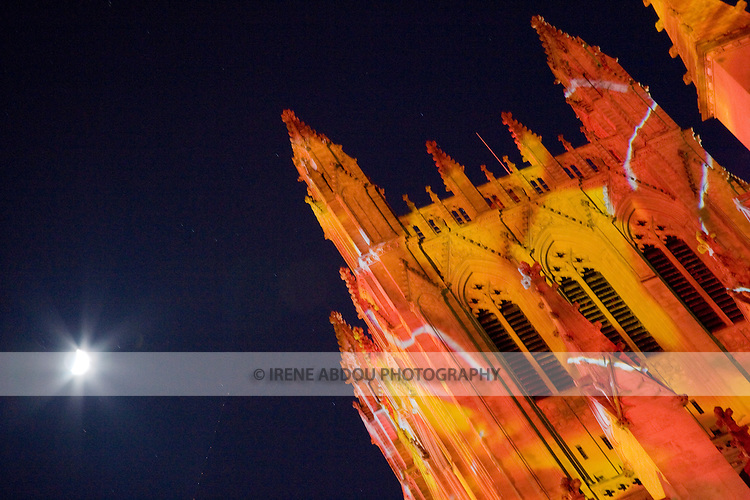 "Gerry Hofstetter, a Swiss lighting artist, designed this exterior illumination of the Washington National Cathedral's south and west sides to celebrate the centennial of the Cathedral.  The ""Lighting the Nation, Uniting the World"" event spotlighted the Washington National Cathedral's mission of reconciliation."