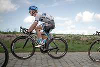 Later race winner Mihkel Ra&iuml;m (EST/Isra&euml;l Cycling Academy) riding the cobbles.<br /> <br /> <br /> 1st Great War Remembrance Race 2018 (UCI Europe Tour Cat. 1.1) <br /> Nieuwpoort &gt; Ieper (BE) 192.7 km