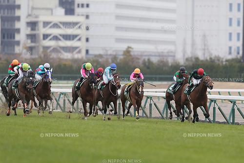 (L-R) /Kosoku Straight (Keita Tosaki), /Lanikai Sunday (Yuichi Kitamura), /Bom Servico (Kohei Matsuyama), /Destiny Song (Katsuma Sameshima), /Meisho Owara (Shinichiro Akiyama), /Jo Strictly (Yutaka Take), /Mayson Junior (Yuji Hishida),<br /> MARCH 18, 2017 - Horse Racing :<br /> Kosoku Straight ridden by Keita Tosaki wins the Chunichi Sports Sho Falcon Stakes at Chukyo Racecourse in Aichi, Japan. (Photo by Eiichi Yamane/AFLO)