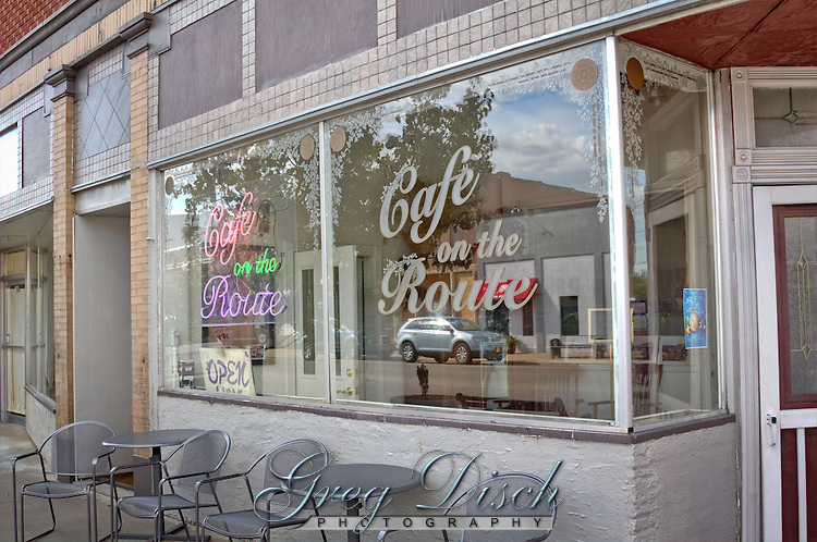 Cafe on the Route, the building was built circa 1870 and was formerly the Crowell Bank, which Jesse James robbed in 1876.