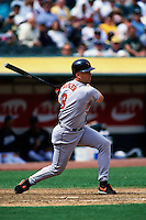 OAKLAND, CA - Cal Ripken Jr. of the Baltimore Orioles in action during a game against the Oakland Athletics at the Oakland Coliseum in Oakland, California in 1997. Photo by Brad Mangin