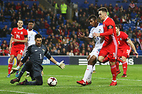 Tom Lawrence of Wales has a shot on goal saved by Jaime Penedo of Panama during the International Friendly match between Wales and Panama at The Cardiff City Stadium, Wales, UK. Tuesday 14 November 2017