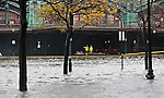 The Hoboken train station is flooded as Hurricane Sandy begins to affect the area in Jersey City, United States. 29/10/2012. Photo by Kena Betancur/VIEWpress.