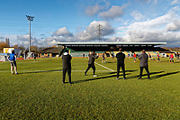 Pictured: Manager Michael Flynn (C) gives instructions to his players. Thursday 18 January 2018<br /> Re: Players and staff of Newport County Football Club prepare at Newport Stadium, for their FA Cup game against Tottenham Hotspur in Wales, UK