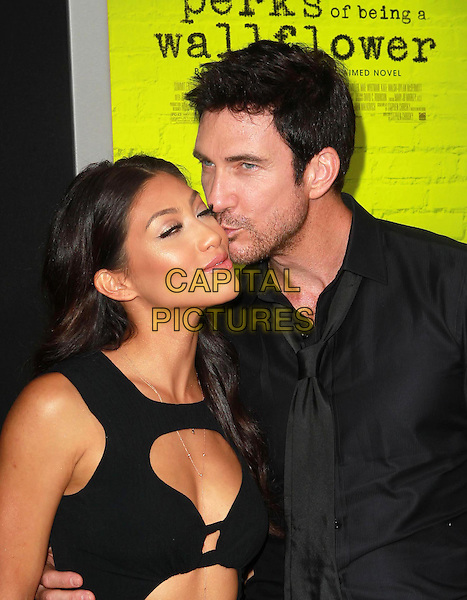 "Shasi Wells, Dylan McDermott.Premiere Of Summit Entertainment's ""The Perks Of Being A Wallflower"" Held At ArcLight Cinemas, Hollywood, California, USA..September 10th, 2012.half length dress shirt cut out away stubble facial hair tie couple black profile kiss kissing .CAP/ADM/KB.©Kevan Brooks/AdMedia/Capital Pictures."