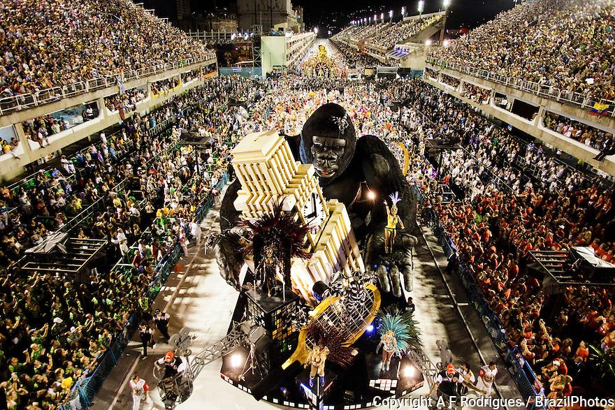Float, platform on wheels with display, Samba Schools Parade, Rio de Janeiro carnival, Brazil - Salgueiro School at 2011 parade.