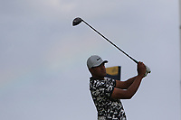 Tony Finau (USA) on the 11th tee during 1st round of the 148th Open Championship, Royal Portrush golf club, Portrush, Antrim, Northern Ireland. 18/07/2019.<br /> Picture Thos Caffrey / Golffile.ie<br /> <br /> All photo usage must carry mandatory copyright credit (© Golffile | Thos Caffrey)