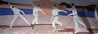 Europe/France/Aquitaine/64/Pyrénées-Atlantiques/Saint-Jean-de-Luz: détail peinture murale sur le fronton municipal représentant la pelote basque
