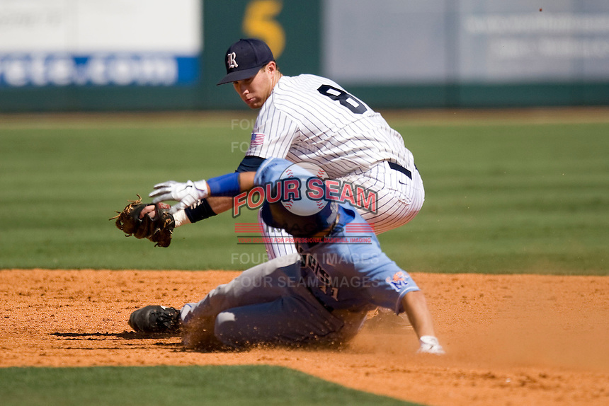 Rice Owls second baseman Michael Ratterree #8 attempts to make a tag against the Memphis TIgers in NCAA Conference USA baseball on May 14, 2011 at Reckling Park in Houston, Texas. (Photo by Andrew Woolley / Four Seam Images)