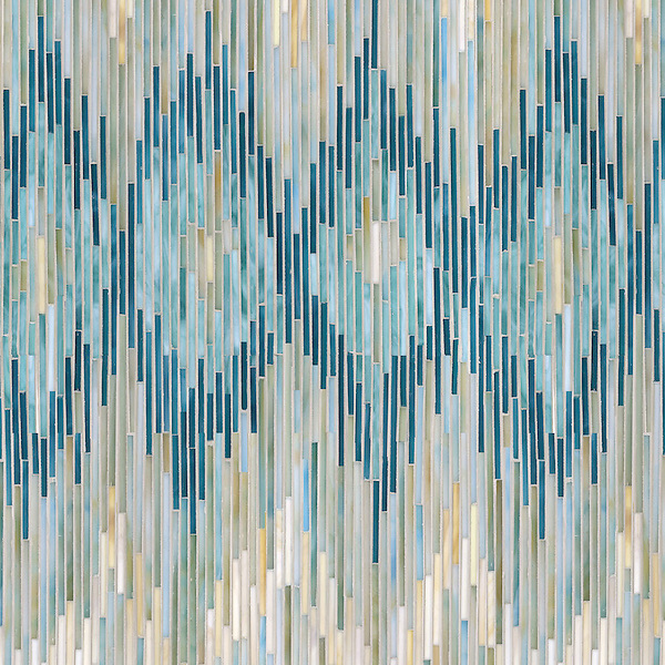Loom, a hand-cut jewel glass mosaic, shown in Quartz, Aquamarine, Tanzanite and Turquoise, is part of the Ikat Collection by New Ravenna.