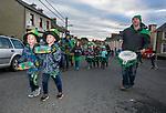170318<br /> Sean and Alan Donnellan (6) making music during St Patricks Day parade in Tulla.Pic Arthur Ellis.