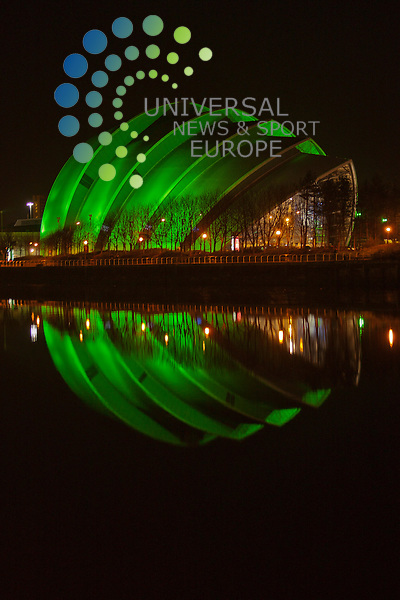 Glasgow, SECC - 17 March: SECC joins the St. Patrick's Day celebrations by adopting the traditional green of Ireland...Picture: Malcolm McCurrach - Universal News and Sport (Europe) - 17/03/2012