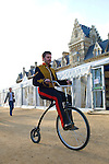 Penny farthing rider at Christ Church during the Sunday Times Oxford Literary Festival, UK, 2-10 April 2011. <br /> <br /> PHOTO COPYRIGHT GRAHAM HARRISON graham@grahamharrison.com<br /> +44 (0) 7974 357 117<br /> Moral rights asserted.