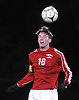 Thomas Doyle #16 of South Side goes up for a header during the Nassau County Class A varsity boys soccer semifinals against Mineola at Adelphi University on Friday, Oct. 28, 2016. He scored a goal with 1:42 remaining to break a 2-2 tie as South Side scored two goals in span of 38 seconds late in the second half to rally from a 2-1 deficit and win in dramatic fashion.