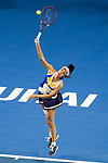 Shuai Peng of China serves during the singles Round Robin match of the WTA Elite Trophy Zhuhai 2017 against Elena Vesnina of Russia at Hengqin Tennis Center on November  03, 2017 in Zhuhai, China.  Photo by Yu Chun Christopher Wong / Power Sport Images