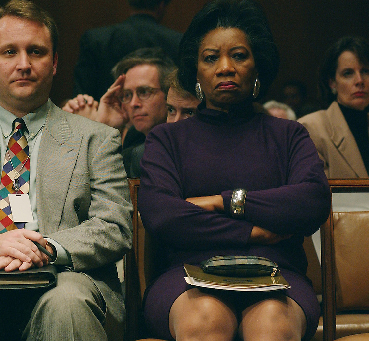 3/14/02.PICKERING NOMINATION--U.S. rep. Juanita Millender-McDonald, D-Calif., in the audience during the Senate Judiciary business meeting on the nomination of Charles W. Pickering Sr. to be United States Circuit Court Judge for the 5th Circuit..CONGRESSIONAL QUARTERLY PHOTO BY SCOTT J. FERRELL