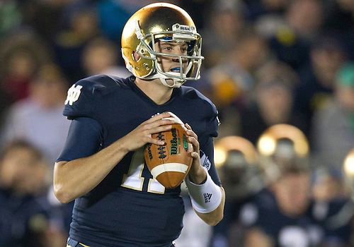 September 22, 2012:  Notre Dame quarterback Tommy Rees (11) sets in the pocket during NCAA Football game action between the Notre Dame Fighting Irish and the Michigan Wolverines at Notre Dame Stadium in South Bend, Indiana.  Notre Dame defeated Michigan 13-6.