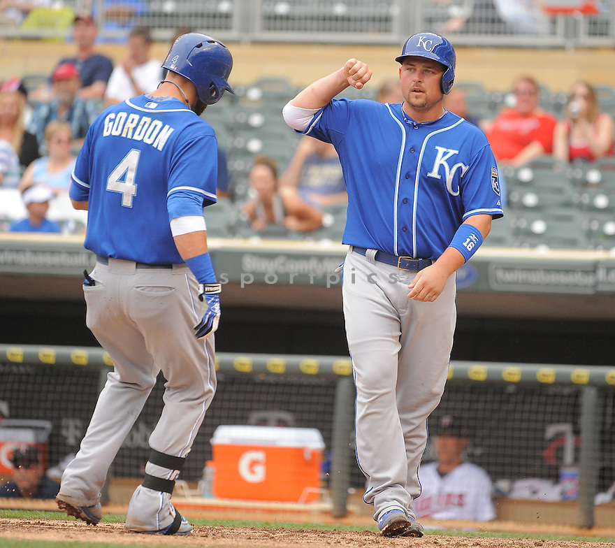 Kansas City Royals Billy Butler (16) during a game against the Minnesota Twins on August 17, 2014 at Target Field in Minneapolis, MN. The Royals beat the Twins 12-6.