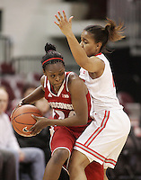Ohio State's Maleeka Kynard (12),right, guards Wisconsin's Tiera Stephen (24) during their NCAA basketball game Thursday, Feb. 7, 2013, in Columbus Ohio. (Photo for the Dispatch by Mike Munden)