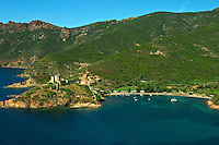 Corsica. Isolated village of Girolata with its Genoese fort guarding the entrance to the bay. Plage de Focaghia.  Golfe de Porto.