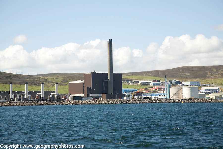 Power station and industrial buildings from the sea, Lerwick, Shetland Islands, Scotland
