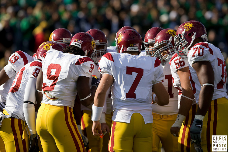 10/17/09 - South Bend, IN:  The USC offense huddles in the first quarter at Notre Dame Stadium on Saturday.  USC won the game 34-27 to extend its win streak over Notre Dame to 8 games.  Photo by Christopher McGuire.