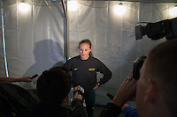 Oregon senior Laura Roseler speaks with the media after the 4x400-meter preliminaries on day 2 of the 2014 NCAA Division I Outdoor Track and Field Championships in Eugene, Oregon, June 12.