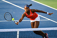 Washington, DC - August 3, 2019: Coco Gauff (USA) makes a great play at the net during the WTA Woman's Doubles Championship at Rock Creek Tennis Center, in Washington D.C. (Photo by Philip Peters/Media Images International)