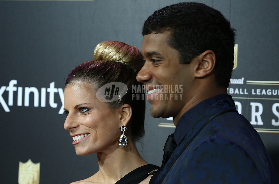 Feb. 2, 2013; New Orleans, LA, USA: Seattle Seahawks quarterback Russell Wilson (right) with wife Ashton Wilson on the red carpet prior to the Super Bowl XLVII NFL Honors award show at Mahalia Jackson Theater. Mandatory Credit: Mark J. Rebilas-USA TODAY Sports