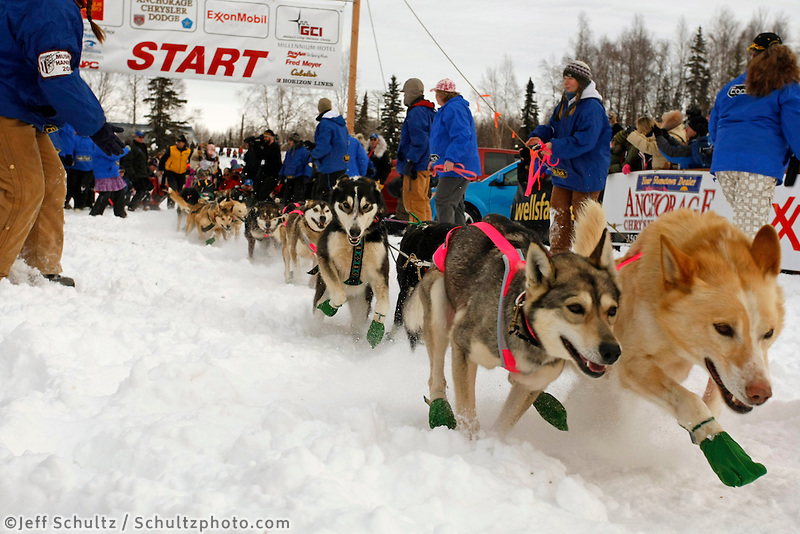 Dee Dee Jonrowe's team runs out the trail at the start on Sunday during the restart day of Iditarod 2009 in Willow , Alaska