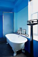 Bright blue bathroom