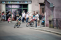 2 man breakaway with breakaway regulars Yoann Offredo (FRA/Wanty-Gobert) & Stéphane Rossetto (FRA/Cofidis)<br /> <br /> Stage 7: Belfort to Chalon-sur-Saône(230km)<br /> 106th Tour de France 2019 (2.UWT)<br /> <br /> ©kramon