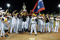Jacksonville Suns celebrate after game three of the Southern League Championship Series against the Chattanooga Lookouts on September 12, 2014 at Bragan Field in Jacksonville, Florida.  Jacksonville defeated Chattanooga 6-1 to sweep three games to none.  (Mike Janes/Four Seam Images)