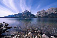 Grand Teton National Park, Wyoming, WY, USA - Grand Teton (Elev 4,197 m / 13,770 ft) and Teton Range Mountains at Jenny Lake, Summer