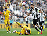 Calcio, Serie A: Juventus vs Sampdoria. Torino, Juventus Stadium, 14 maggio 2016. <br /> Juventus' Giorgio Chiellini, right, controls the ball as Sampdoria's Fabio Quagliarella falls on the pitch during the Italian Serie A football match between Juventus and Sampdoria at Turin's Juventus Stadium, 14 May 2016.<br /> UPDATE IMAGES PRESS/Isabella Bonotto