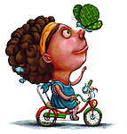 Illustration of happy girl playing with butterfly while riding bicycle